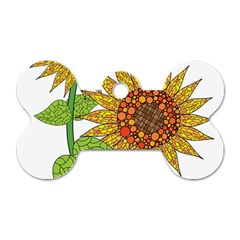 Sunflowers Flower Bloom Nature Dog Tag Bone (Two Sides)