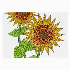Sunflowers Flower Bloom Nature Large Glasses Cloth (2-Side)