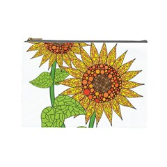 Sunflowers Flower Bloom Nature Cosmetic Bag (large)