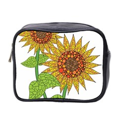 Sunflowers Flower Bloom Nature Mini Toiletries Bag 2-Side
