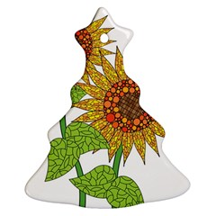 Sunflowers Flower Bloom Nature Christmas Tree Ornament (Two Sides)