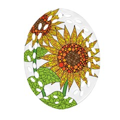 Sunflowers Flower Bloom Nature Oval Filigree Ornament (Two Sides)