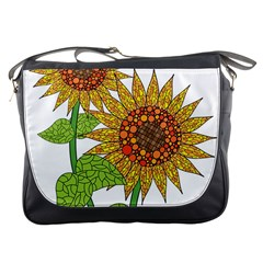 Sunflowers Flower Bloom Nature Messenger Bags