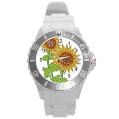 Sunflowers Flower Bloom Nature Round Plastic Sport Watch (l)