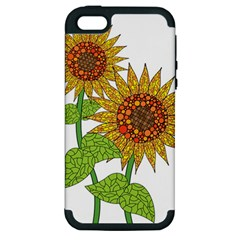 Sunflowers Flower Bloom Nature Apple iPhone 5 Hardshell Case (PC+Silicone)