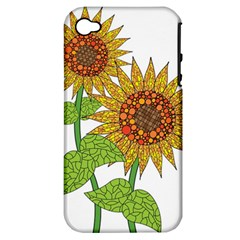 Sunflowers Flower Bloom Nature Apple iPhone 4/4S Hardshell Case (PC+Silicone)