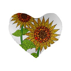 Sunflowers Flower Bloom Nature Standard 16  Premium Heart Shape Cushions