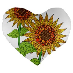 Sunflowers Flower Bloom Nature Large 19  Premium Heart Shape Cushions