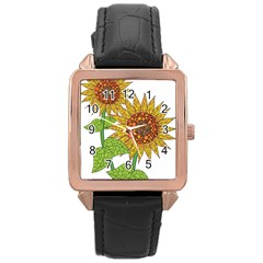 Sunflowers Flower Bloom Nature Rose Gold Leather Watch