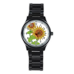 Sunflowers Flower Bloom Nature Stainless Steel Round Watch
