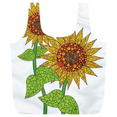 Sunflowers Flower Bloom Nature Full Print Recycle Bags (L)
