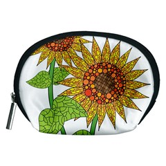Sunflowers Flower Bloom Nature Accessory Pouches (Medium)
