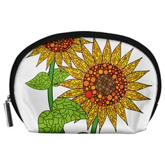 Sunflowers Flower Bloom Nature Accessory Pouches (large)