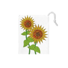 Sunflowers Flower Bloom Nature Drawstring Pouches (small)