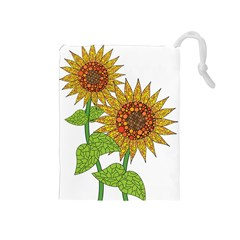 Sunflowers Flower Bloom Nature Drawstring Pouches (Medium)