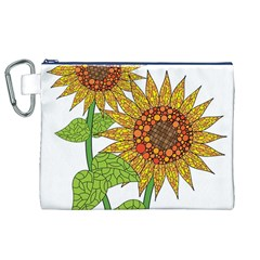 Sunflowers Flower Bloom Nature Canvas Cosmetic Bag (XL)