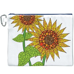 Sunflowers Flower Bloom Nature Canvas Cosmetic Bag (XXXL)