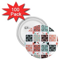 Mint Black Coral Heart Paisley 1.75  Buttons (100 pack)