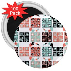 Mint Black Coral Heart Paisley 3  Magnets (100 pack)