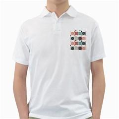 Mint Black Coral Heart Paisley Golf Shirts