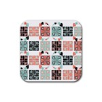 Mint Black Coral Heart Paisley Rubber Coaster (Square)  Front