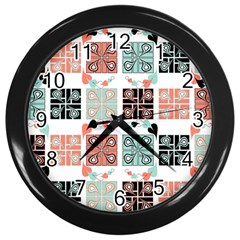 Mint Black Coral Heart Paisley Wall Clocks (Black)