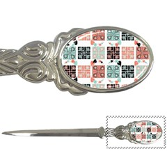 Mint Black Coral Heart Paisley Letter Openers