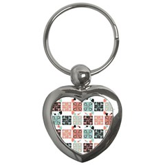 Mint Black Coral Heart Paisley Key Chains (Heart)