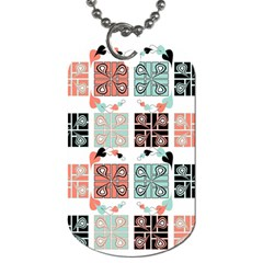 Mint Black Coral Heart Paisley Dog Tag (two Sides)