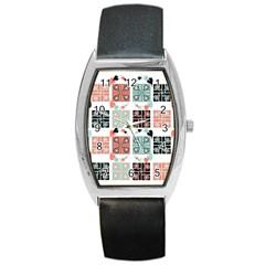 Mint Black Coral Heart Paisley Barrel Style Metal Watch