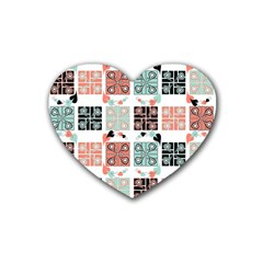Mint Black Coral Heart Paisley Heart Coaster (4 pack)