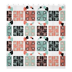 Mint Black Coral Heart Paisley Shower Curtain 66  x 72  (Large)