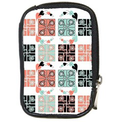 Mint Black Coral Heart Paisley Compact Camera Cases