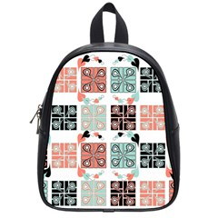 Mint Black Coral Heart Paisley School Bags (small)