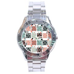 Mint Black Coral Heart Paisley Stainless Steel Analogue Watch