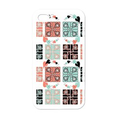 Mint Black Coral Heart Paisley Apple iPhone 4 Case (White)