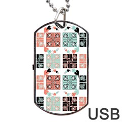 Mint Black Coral Heart Paisley Dog Tag USB Flash (One Side)