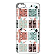 Mint Black Coral Heart Paisley Apple iPhone 5 Case (Silver)
