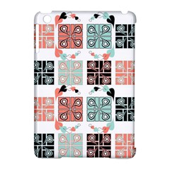 Mint Black Coral Heart Paisley Apple iPad Mini Hardshell Case (Compatible with Smart Cover)