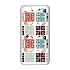 Mint Black Coral Heart Paisley Apple iPhone 5C Seamless Case (White)