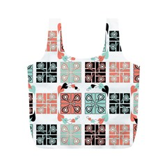 Mint Black Coral Heart Paisley Full Print Recycle Bags (M)