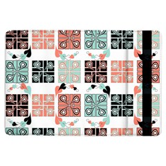Mint Black Coral Heart Paisley iPad Air Flip