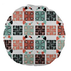 Mint Black Coral Heart Paisley Large 18  Premium Flano Round Cushions
