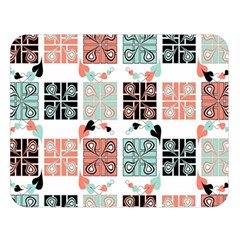 Mint Black Coral Heart Paisley Double Sided Flano Blanket (Large)