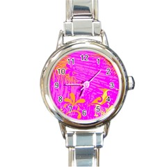 Spring Tropical Floral Palm Bird Round Italian Charm Watch