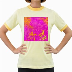 Spring Tropical Floral Palm Bird Women s Fitted Ringer T-Shirts