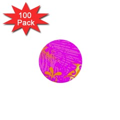 Spring Tropical Floral Palm Bird 1  Mini Buttons (100 Pack)