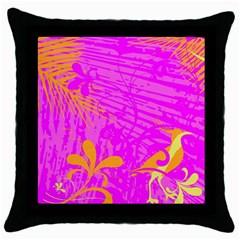 Spring Tropical Floral Palm Bird Throw Pillow Case (Black)