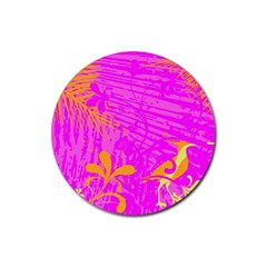 Spring Tropical Floral Palm Bird Rubber Round Coaster (4 Pack)