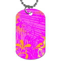 Spring Tropical Floral Palm Bird Dog Tag (One Side)